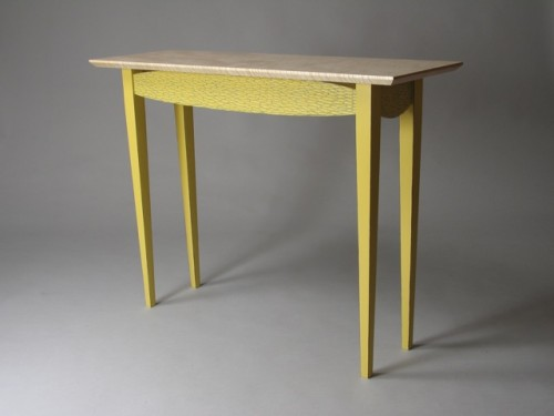 Yellow-Blue Hall Table, carved and painted poplar, curly Vermont sugar maple, by David Hurwitz, Randolph, Vermont
