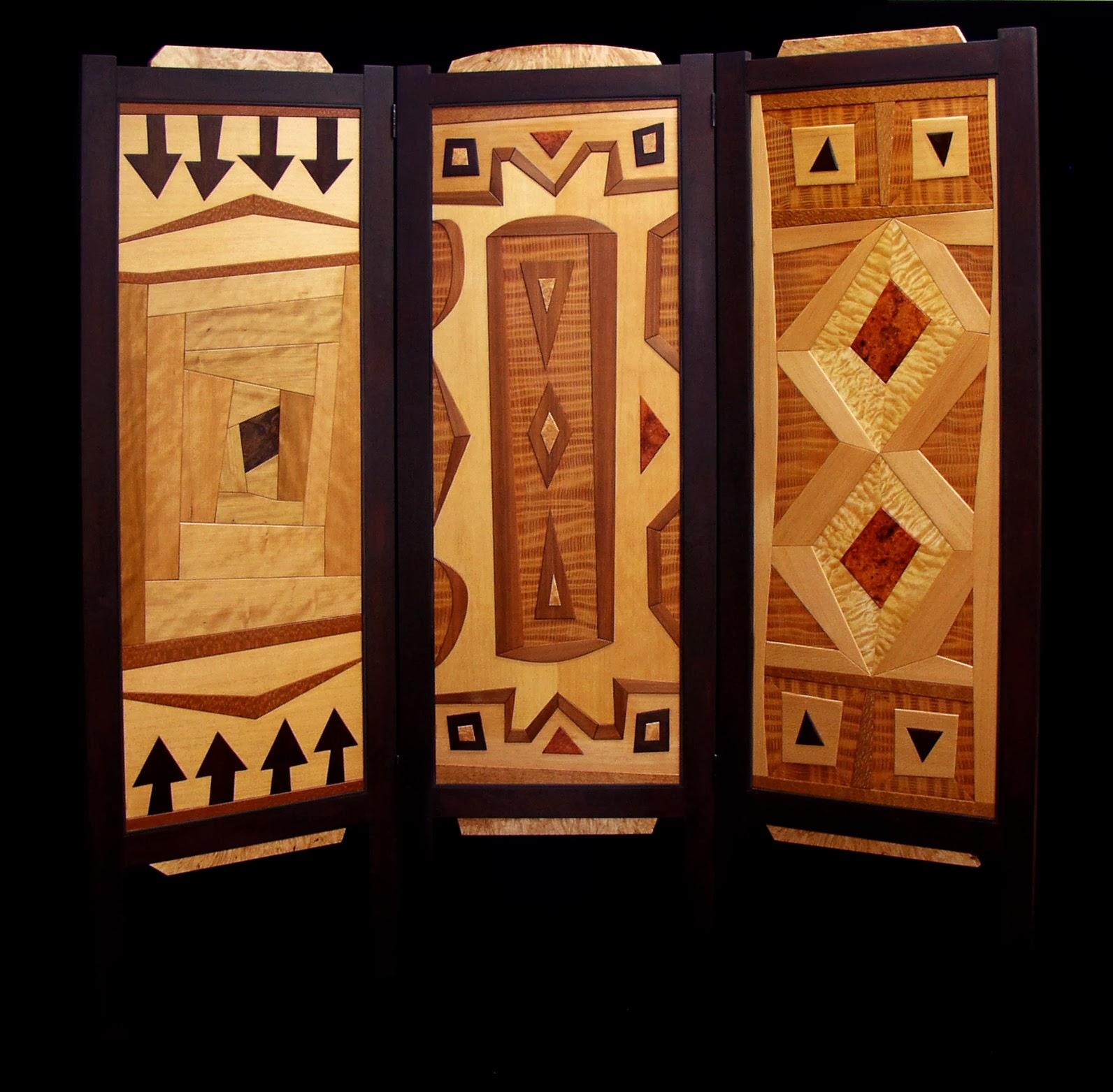Folding Room Screen W Geometric Wood Inlays Dorset