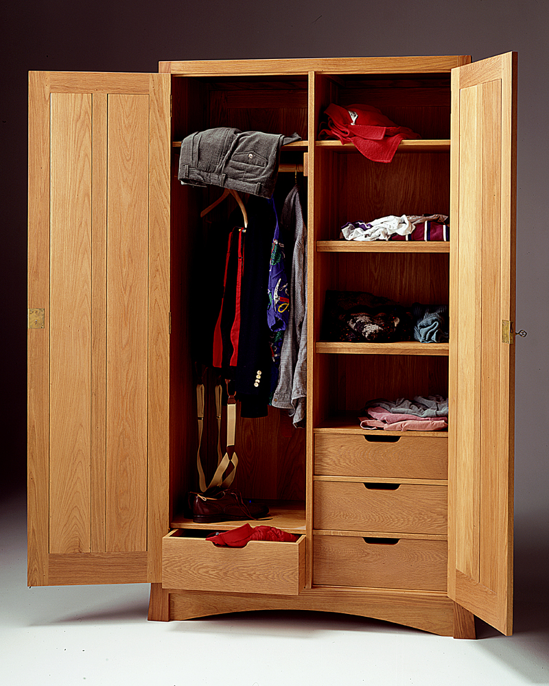 Mission Style Armoir White Oak Wardrobe Vt Bedroom