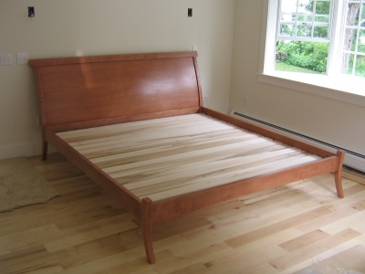 Tiger Maple Sleigh Bed by Kit Clark.