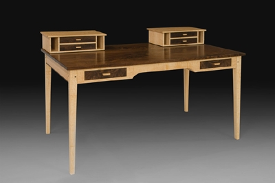 Walnut Amp Maple Desk With Organizers Bob Gasperetti