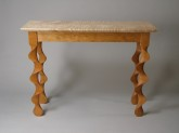 Cherry Taffy Console Table, carved Vermont cherry, curly Vermont maple top, by David Hurwitz Originals, Randolph, Vermont