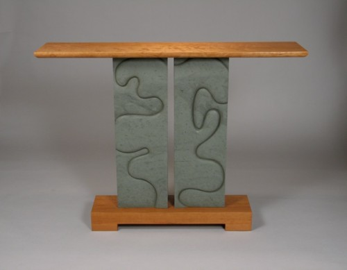 One of a kind hall table in carved Vermont slate, cherry with curly cherry table top - by David Hurwitz and Kerry O. Furlani