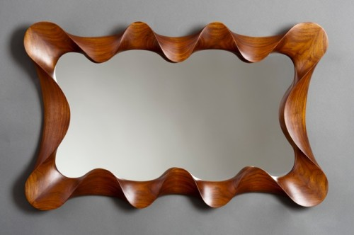Large Walnut Taffy Mirror by David Hurwitz