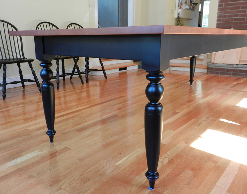 Tiger maple dining room table w turned legs hawk ridge furniture