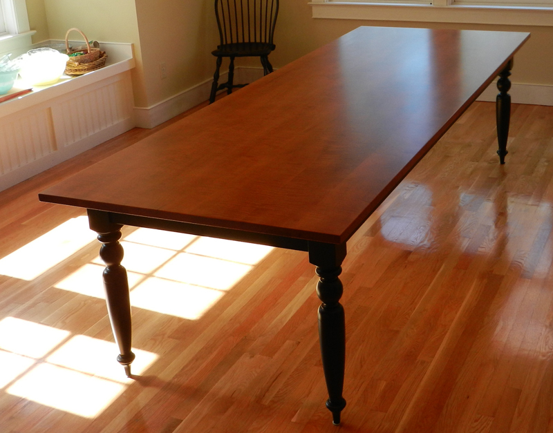 Tiger Maple Dining Room Table W Turned Legs Hawk Ridge