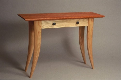 Console table in Curly cherry and ash with river stone drawer pulls - by David Hurwitz