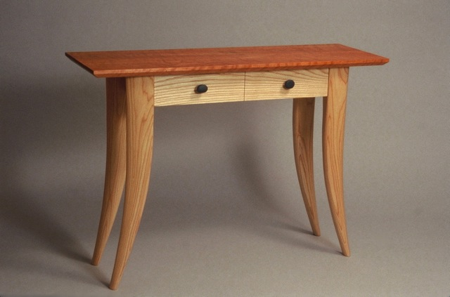 Console Table In Curly Cherry And Ash With River Stone Drawer Pulls   By  David Hurwitz