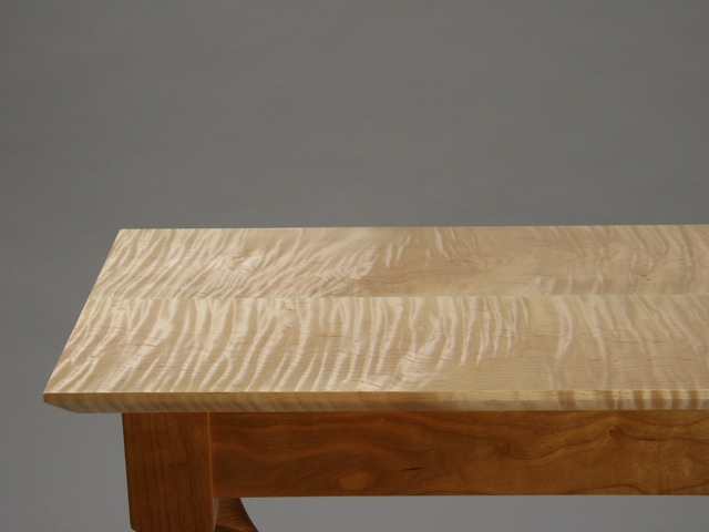 ... Cherry Taffy Console Table, Curly Vermont Maple Top, Vermont Cherry  Legs And Aprons,