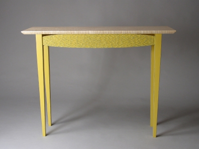 Hall table carved and painted wood david hurwitz for Sofa table yellow