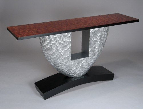 Console table in carved and painted poplar, quilted bubinga - by David Hurwitz, Randolph, Vermont