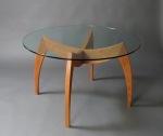 Modern Cherry Dinning Table in Cherry with Clear Glass Top, by David Hurwitz Originals, Randolph, Vermont