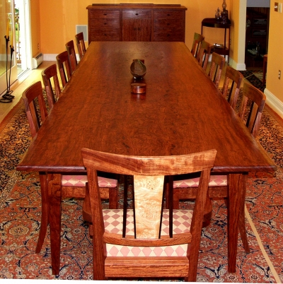 Bubinga Slab Dining Table Dorset Custom Furniture Dan