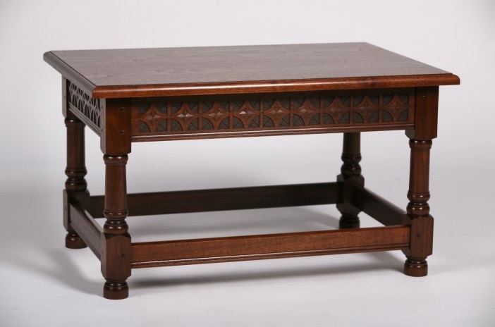Hand Carved Gothic Inspired Coffee Table by Erin Hanley