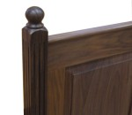 raised panel bed headboard detail in walnut