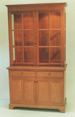 cherry china display hutch