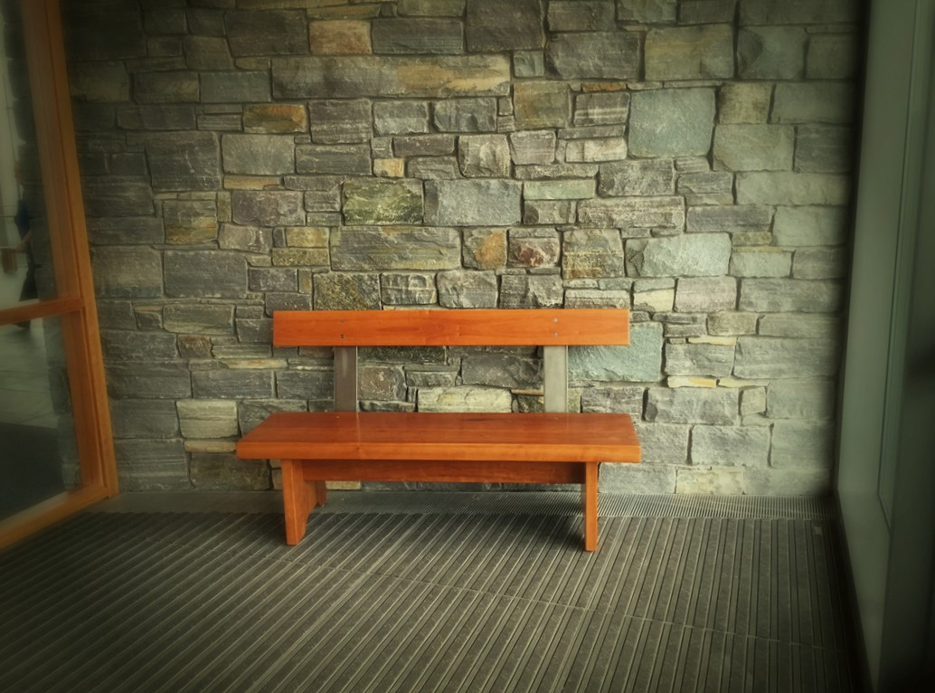 Cherry and Steel Bench at Pizzagalli Center