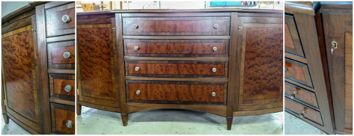 Bowfront sideboard with extensive inlays and veneer work from John Lomas Custom Furniture