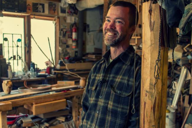 Chris Ericson in his furniture sutdio, South Newfane VT
