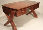 Figured Black Walnut Writng Desk, Contemporary Walnut Desk with Handcarved Legs
