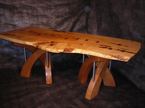 Live Edge Maple Dinning Table with Oak Bases