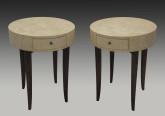 Birdseye Maple and Walnut Art Deco Side Tables