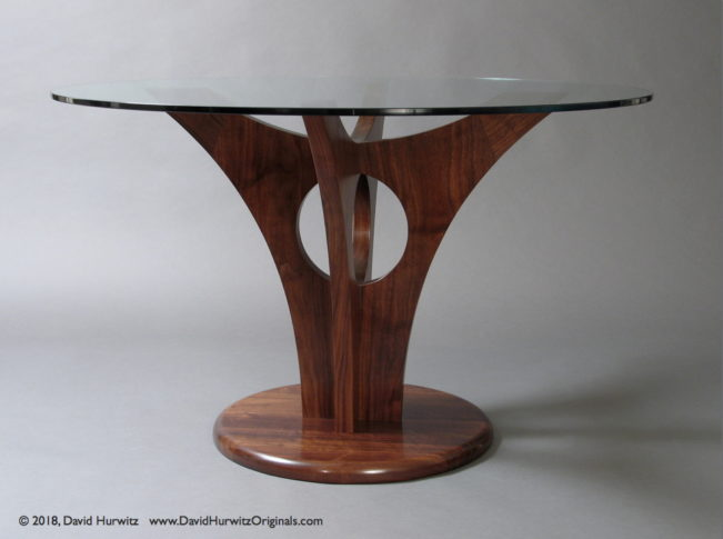 Modern Dining Table with Walnut Base and Round Glass Top, by David Hurwitz, Randolph, Vermont. Copyright 2018, David Hurwitz. All rights reserved.
