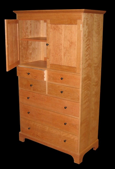 7 Drawer Cherry Dresser With Cabinet Amp Ebony Knobs
