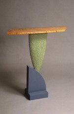 Champlain Side Table, carved and painted poplar, curly red oak top, by David Hurwitz Originals, Randolph, Vermont