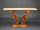 Carved Cherry and Curly Vermont Maple Console Table - by David Hurwitz, Randolph, Vermont