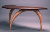 Arden Writing Desk, carved ash, walnut top, by David Hurwitz, Randolph, Vermont
