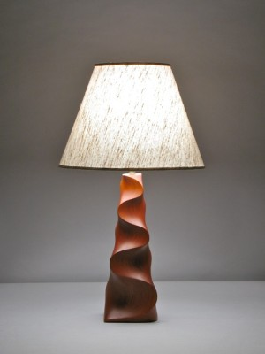 Table lamp in carved FSC cherry by David Hurwitz, Randolph, Vermont