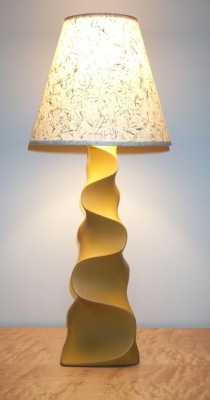 Yellow Table Lamp - carved and painted poplar, by David Hurwitz Originals, Randolph, Vermont