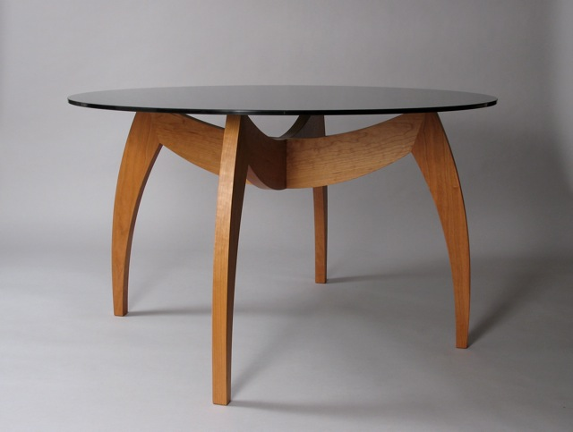 Cherry Dining Table With Round Glass Top