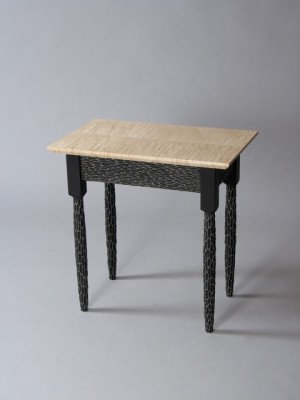 Funky Shaker End Table, carved and painted maple legs and poplar aprons, curly Vermont maple top, by David Hurwitz, Randolph, Vermont