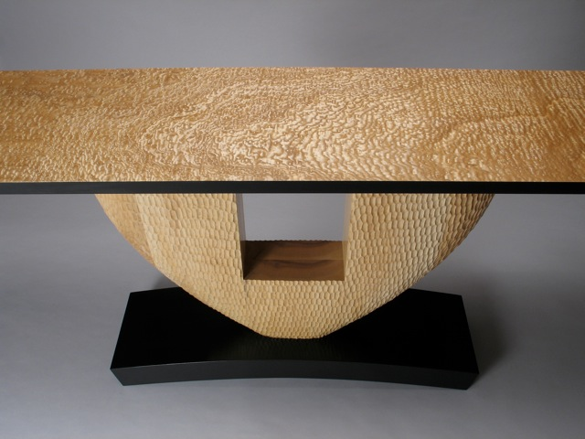 Carved Vermont grown ash base, Japanese Tamo ash table top - by David Hurwitz, Randolph, Vermont