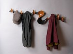 Carved and painted cherry custom coat rack by David Hurwitz, Randolph, Vermont