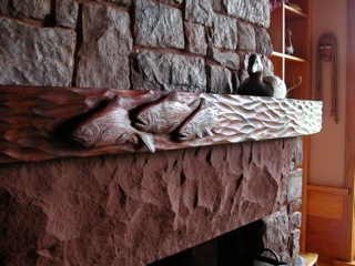 Handcarved Mantel with Brook Trout by Chip Ogg VT