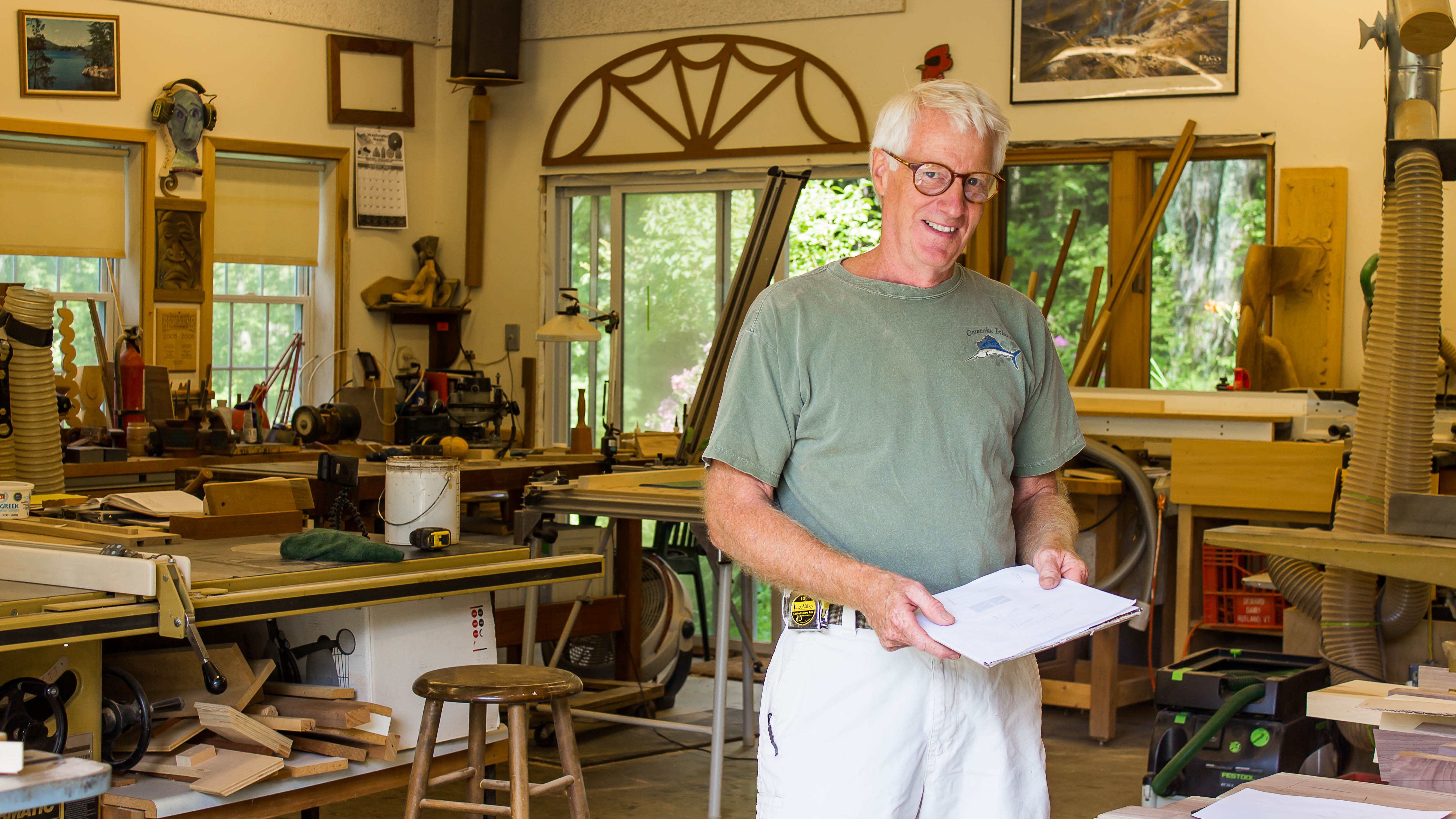 Guild of Vermont Furniture Makers Member Charles Ogg in his Chittenden Workshop