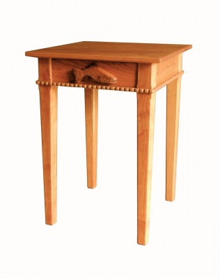 Custom Cherry Sidetable with Fish Drawer Pull Chip Ogg VT