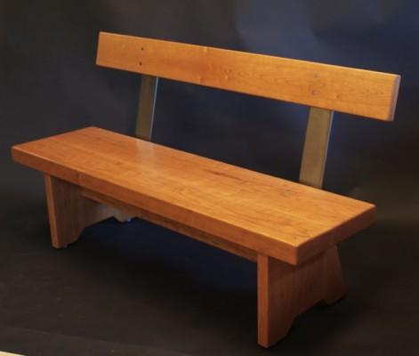 cherry bench, commercial bench, modern