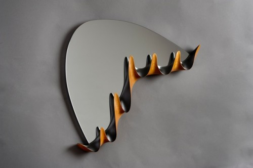 """Modern Coat Rack With Mirror, carved and painted FSC cherry, 1/4"""" thick mirror glass with polished edge, by David Hurwitz, Randolph, Vermont. Copyright David Hurwitz, 2013. All rights reserved."""