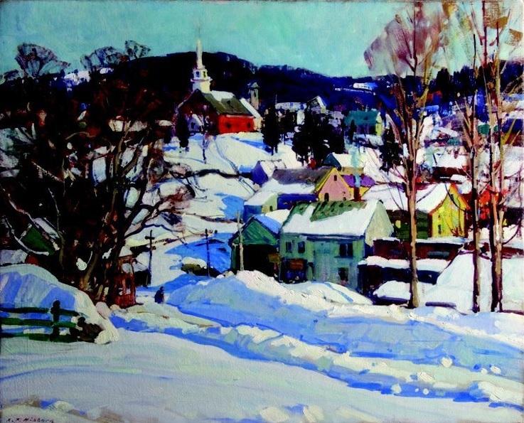 Aldro Hibbard's Londonderry Scene, Winter Sunlight via Rockport Art Association