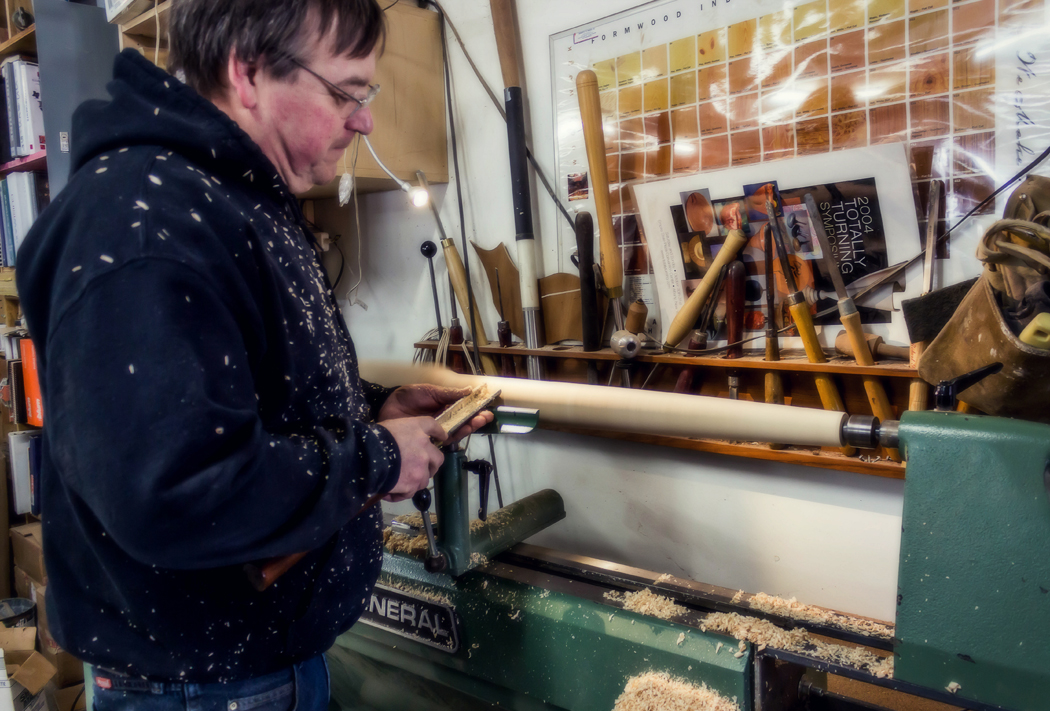Guild of Vermont Furniture Makers Member Joe Breznick in his Londonderry Workshop