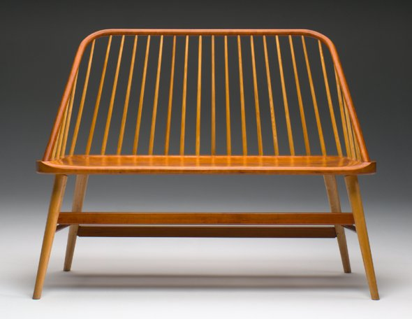 Handcrafted Contemporary Windsor Bench, Jas. Becker Cabinetmaker