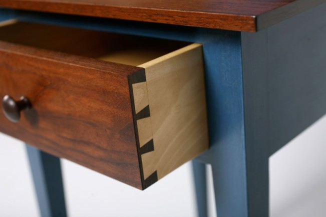handcrafted dovetails on a shaker nightstand