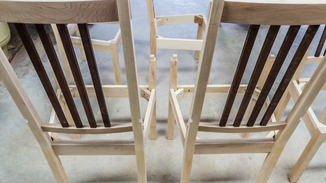 A look at Lomas' Chalford Chairs, Local Cherry and Walnut Spindles
