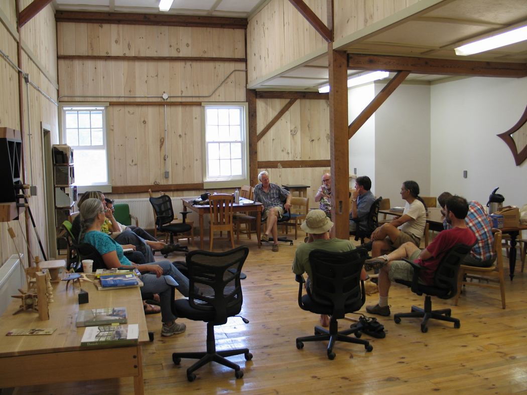 gathering of craftsman at vermont woodworking school