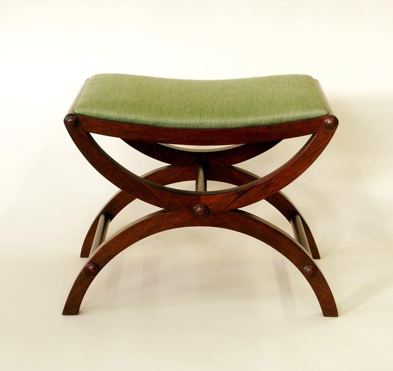 klismos style mahogany stool, Josh Metcalf Furniture