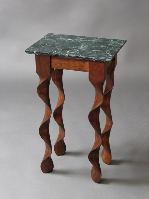Modern End Table In Walnut With Green Marble Top By David